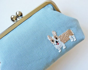 RESERVED for Florist919  Corgi kiss lock purse - dusty blue linen light blue dog puppy clasp purse beige white dog purse frame purse