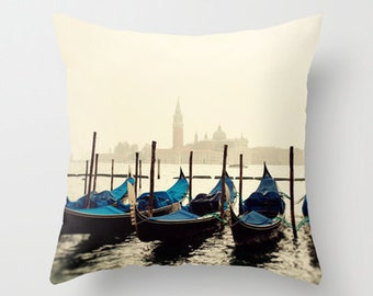 decorative pillow cover, gondola pillow,  photography pillow cover, blue home decor, europe, venice italy, travel, Gondolas in Color