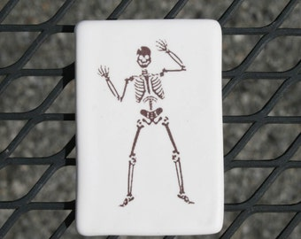 Happy dancing skeleton magnet - Halloween decoration or fun for anytime of the year - boney dancer - small handmade ceramic tile