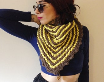 Chunky knit striped yellow and taupe triangle shawl scarf