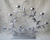 Silver Painted Large 8 Cup Tea Light Candle Holder with Swirling Vines & Leaves Centerpiece Special Occasions