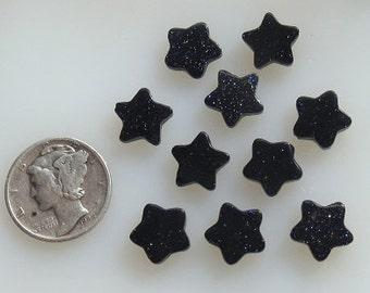 Blue Goldstone Star 10mm Beads 11 pcs
