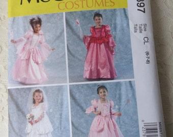 McCalls M6897 Sewing Pattern Princess Dress Costumes, Size Childrens Girls 6-8