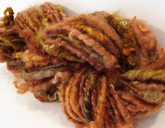 TORTOISESHELL Curly Handspun Yarn, Super Bulky 43 yards, 6.5 oz. Wensleydale Wool Locks Art Yarn Waldorf Doll Hair Knitting Crochet Weaving