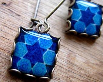 Judaica Jewelry, Jewish jewelry, Hebrew Art, Vintage tile design 14th century, Star of David, Blue, Tribal earrings, Persian jewelry, Ethnic