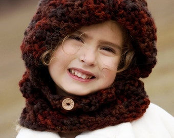 Hooded Cowl, Hooded neck warmer, hooded scarf, winter hat // Sizes from Toddler to Adult // Many Colors to choose from