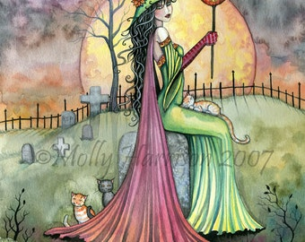 Fantasy Art Original Witch Cat Halloween Archival Giclee Print 9 x 12