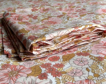 Vintage Double Bed Sheet - Pink, Rust and Brown Flowers - Horrockses Brand