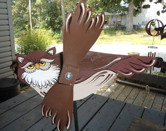 Whirligig, Brown Owl,hand crafted, handmade,Home & Living,garden decore,yard art,woodcraft,lawn ornament,outdoor garden,woodland item,owl