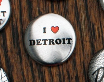 Metallic I Heart Detroit Pins - Set of Three