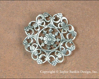 Antiqued Sterling Silver Plated Victorian Filigree Flower Component (item 8468-Dapped AS) - 2 Pieces