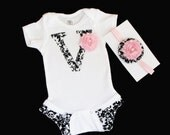 Baby girls clothing.. Shabby chic DAMASK initial Ruffle legged girls one piece OUTFIT and HEADBAND set