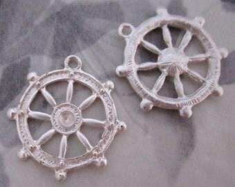 4 pcs. matte silver tone ship's steering wheel charms w rhinestone setting 25mm - f4300