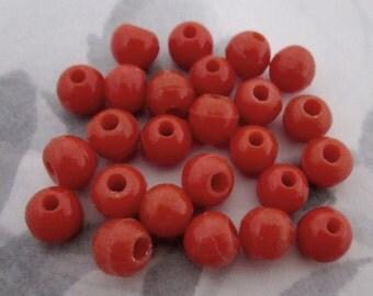 50 pcs. vintage glass coral orange equator beads 8mm  - f4330