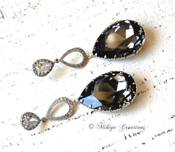 CUSTOM ORDER RESERVED for carriecarpenter5419 Wedding Jewelry, Chandelier Wedding Earrings, Wedding Jewelry - Tiffany With Black Diamonds