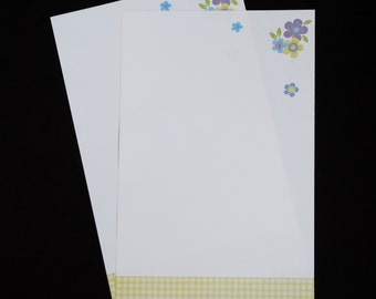 Floral and Gingham, stationery set, fine writing set, hand written letters, 30 pieces, letter writing set
