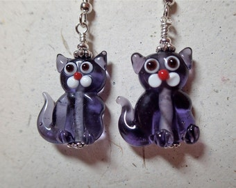 Lavender Glass Kitty Cat Earrings  Silver  Meow