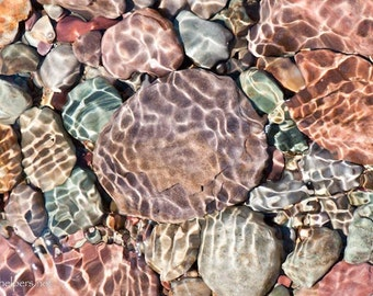 Rocks under Lake Water, Sunlight and Shadows, Pastel Rocks, Light Dancing, Montana Rocks, Photograph or Greeting card