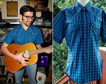 LEVI'S 1970's Vintage Deep Blue Plaid Western Cowboy Shirt with Pearl Snaps // size Medium
