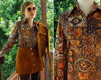 Crazy PAISLEY 1960's 70's Vintage Brown Mustard + Orange Cotton Button Down Shirt w/ Horn Buttons // size Small Med