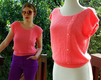 CORAL Knit 1970's 80's Vintage Bright Pink Slouchy Knit Sweater Blouse with Short Sleeves // size Small Med // by David BRETT