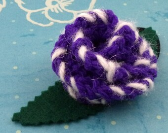 Crocheted Rose Ponytail Holder or Bracelet - Purple and White (SWG-HP-MPRR02)