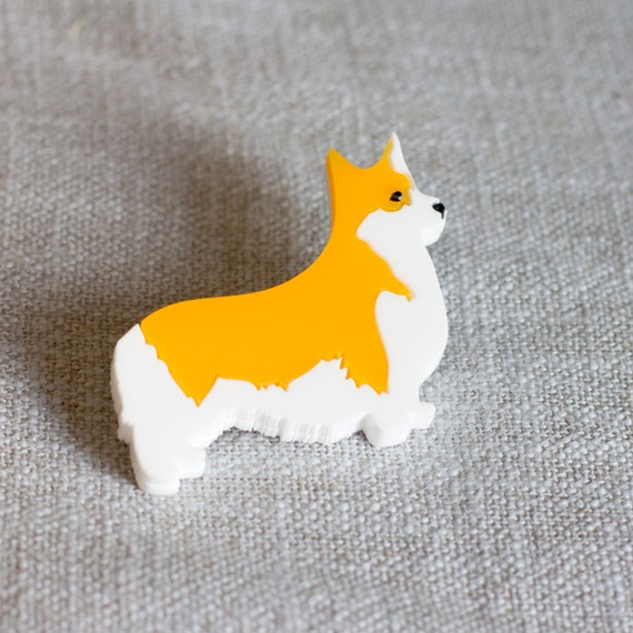 Corgi brooch dog plastic laser cut