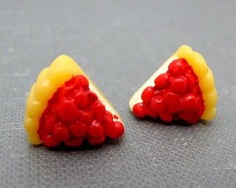 Delicious Cherry Pie Stud Earrings // Cream and Cherries // Dessert // Rhodium Posts // Gift under 15