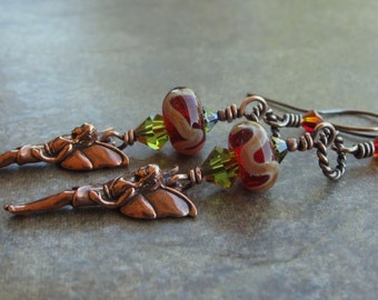 Copper Earrings Red Lampwork Beads Swarovski Crystals Copper Woodland Fairies On Sale