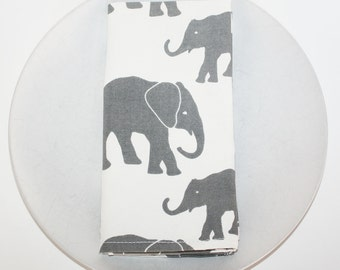 Set of 4 Organic Cotton Elephant Napkins  - Grey