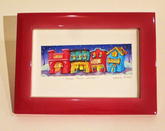 ART PRINT FRAMED Framed Art Print Small Town Winter  by Valerie Walsh 4 x 6
