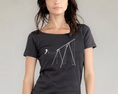 "NEW VERSION - SWING ""Jump"" shirt for women - organic cotton scoop neck with soft vintage feel - earth coal"