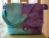 Color-block messenger bag, hand dyed canvas, purple and turquoise, water repellent lining, inner and outer pockets