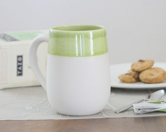 SALE Green Pottery Mug - Naked Mug in Olive Green - Discounted 15 Ounce Coffee Mug - Unglazed Porcelain Mug with Handle