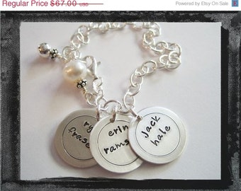 Personalized Bracelet - Hand Stamped Charms - Sterling Silver 3 DISC CIRCLES Charm Bracelet