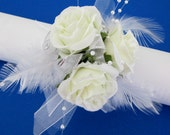 Off White Roses Corsage Glass Pearls Bracelet  Wristlet With Feathers