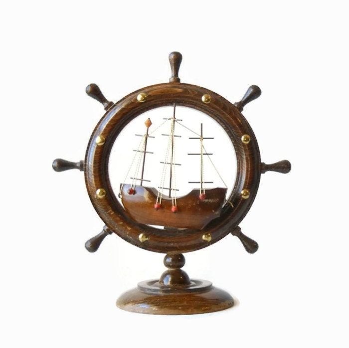 Vintage wood ship wheel nautical home decor beach cottage for Ship decor home
