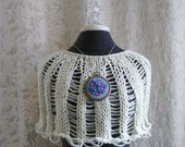 The Hydrangea Capelet in french vanilla - Hand Knit Capelet - One of a Kind