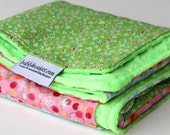 Patchwork Baby Blanket - Bright Colors & Ladybug Blanket - Pink and Lime Green  -  One of a Kind Minky Baby Blanket