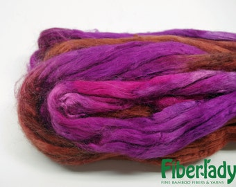 4 oz Hand painted Bamboo combed top spinning fiber - Chocolate Cherries colorway