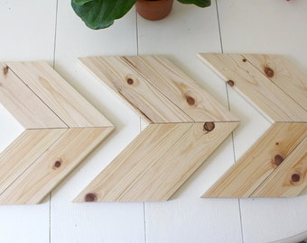 Unstained Wood Arrow Wall Art, Chevron Home Decor, Raw Wood