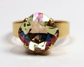 Swarovski Crystal Cocktail Ring Pale Yellow Pastel Luminous Green Pink Blue Frosted Metallic Diamond Sparkle Solitaire You Choose Finish