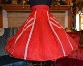 Vintage organdy apron. Little red apron