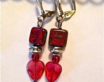 Earrings red jasper gemstone and pressed Czech glass leaves  earrings pierced    tateam