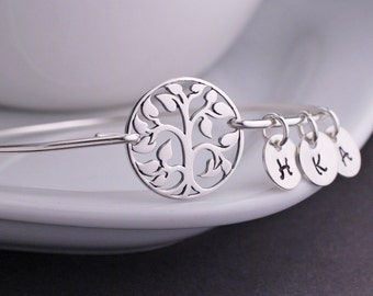 Grandmother jewelry, Sterling Silver Family Tree Jewelry Christmas Gift for Grandma, Holiday Jewelry Gift for Wife Bangle Bracelet