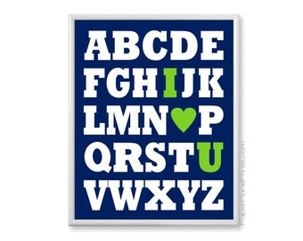 Navy and Lime Green Nursery, Alphabet I Love You Nursery Art Print, ABC Wall Art Kids Room, Alphabet Print Nursery Decor, Baby Boy, 8x10