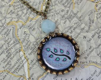 Branch with Leaves - Original Illustration Pendant - Vintage Bottle Cap Necklace - Blue Chalcedony Gemstone -Antique Brass Chain