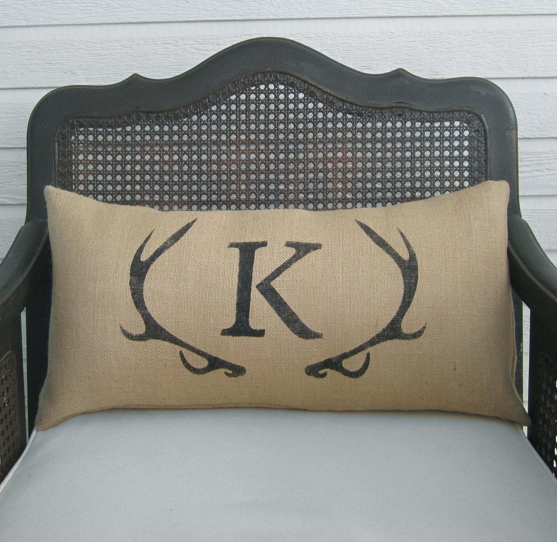 Deer Antler Monogram Pillow Lumbar Pillow Burlap Pillow