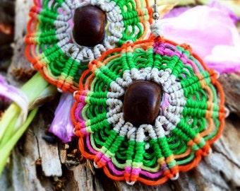 Medallion Hemp Earrings with Wood