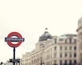 London Underground Sign, Travel Photography, Red, Winter White, Regent Street, England - Going Underground